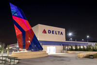 Delta Parking Garage with Airplane Tail at Suntrust Field
