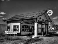B/W Standard Oil Station along Route 66 in Odel, IL