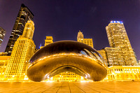 Cloud Gate (The Bean) in Millenium Park in Chicago at Night