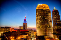 Sunset overlooking the Cleveland Skyline with Terminal Tower Lit up in Cleveland Indians Colors for the 2016 MLB playoffs.